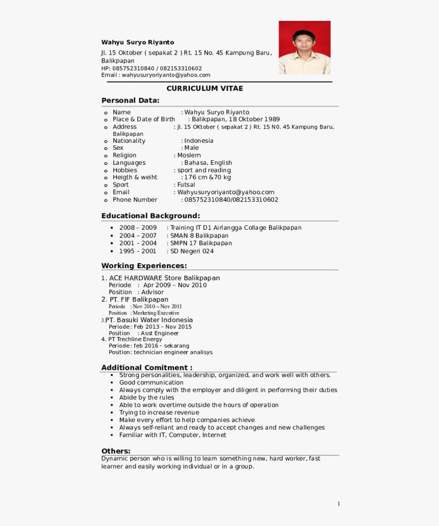 Curriculum Vitae Personal Data Sample Cash Posting Resume Hd