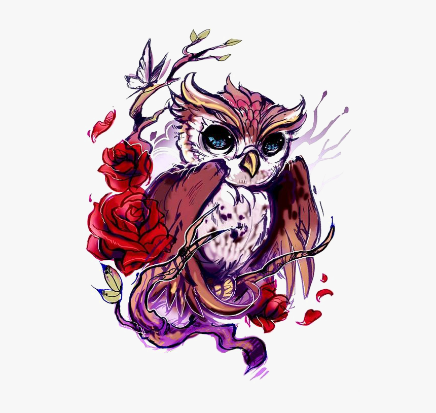 Flash Owl Artist Rose Tattoo Hd Image Free Png Clipart - Color Owl Tattoo  Drawing, Transparent Png , Transparent Png Image - PNGitem