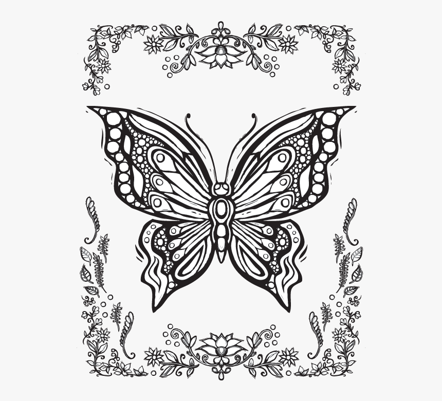 611 X 782 Printable Coloring Pages For Adults Butterflies Hd Png Download Transparent Png Image Pngitem