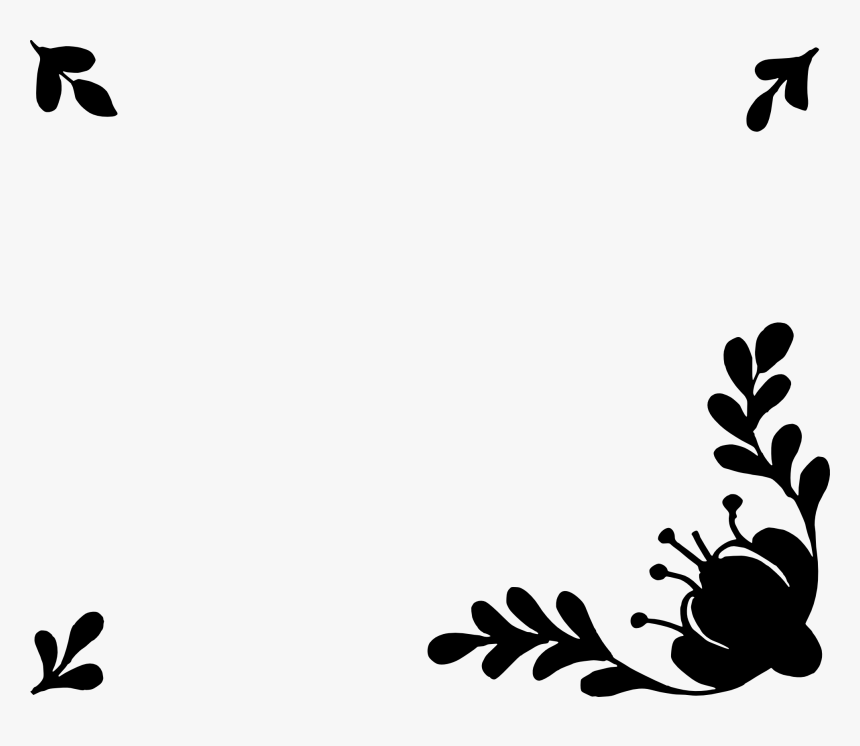 Simple Flower Border Vector Black And White Hd Png Download Transparent Png Image Pngitem