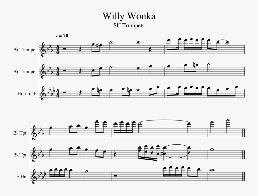 Willy Wonka Sheet Music For Trumpet, French Horn Download ...