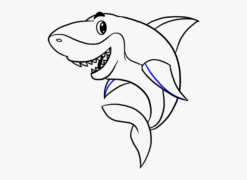 How To Draw Shark - Shark Cartoon Black And White, HD Png Download ...