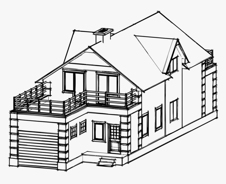 Transparent House Sketch Png Drawing Of Building House Png Download Transparent Png Image Pngitem