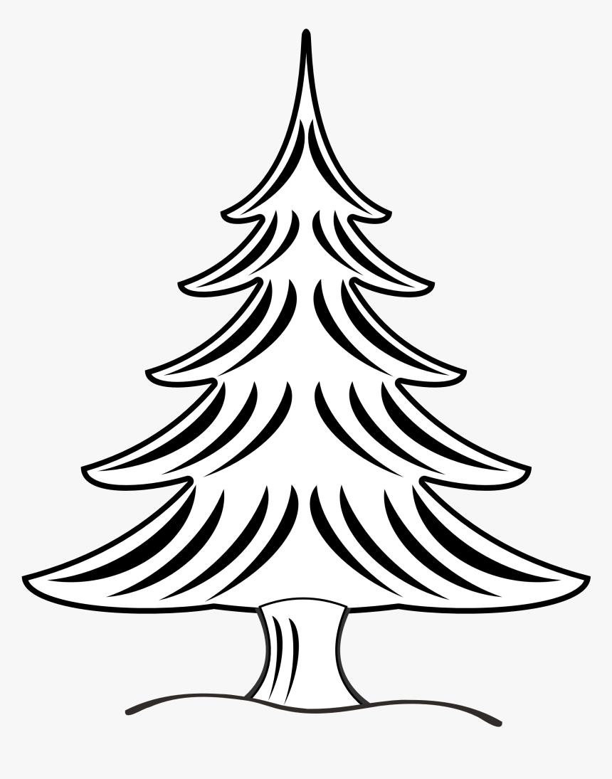 Christmas Tree Black And White Snow