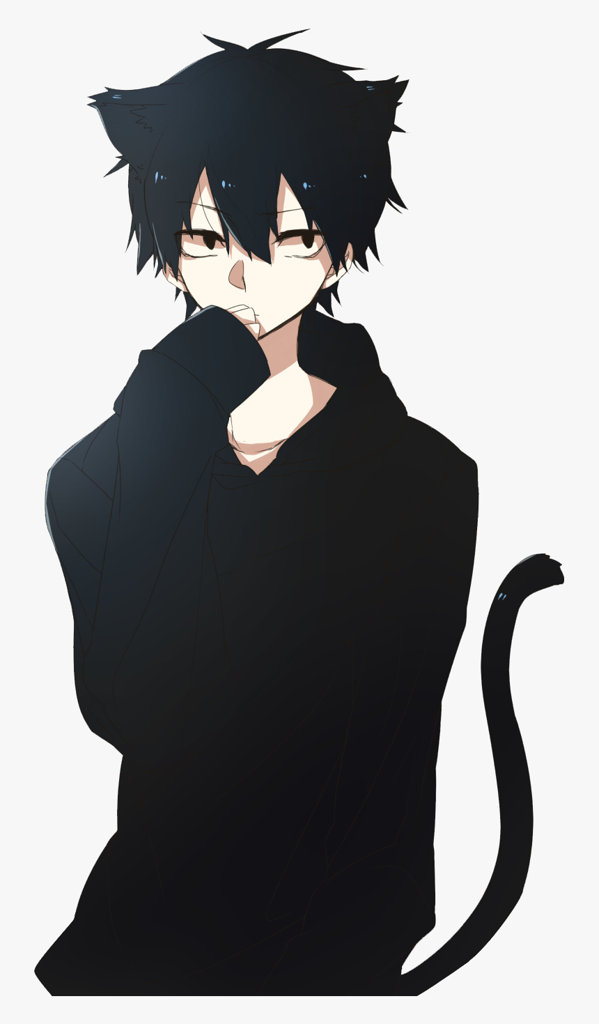 Anime Boy Cute Nekoboy Neko Cute Anime Boy With Black Hair Hd Png Download Transparent Png Image Pngitem