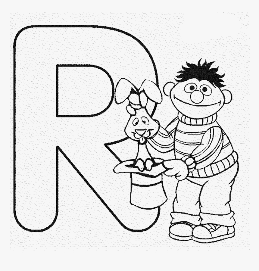 Kids Abc Coloring Pages Sesame Street R Coloring Sheet Hd Png