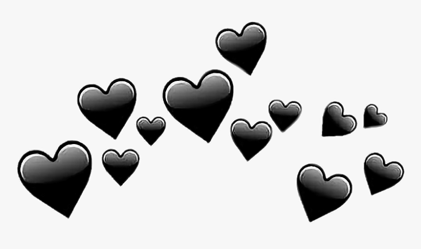 hearts #coração #corações #heart #black #preto #tumblr - Transparent Black  Heart Emoji, HD Png Download , Transparent Png Image - PNGitem