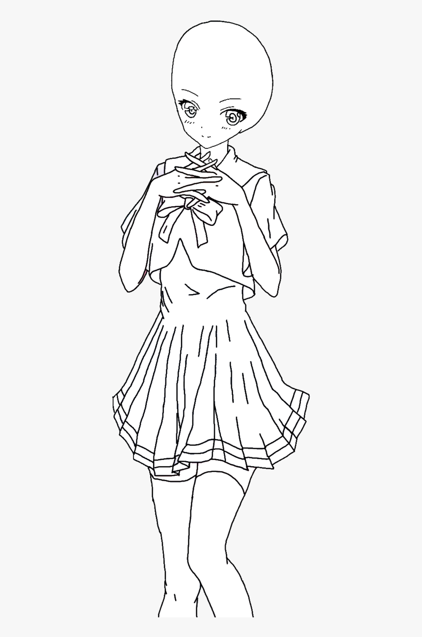 Anime Girl Drawing At - Anime Girl In Dress Base, HD Png Download