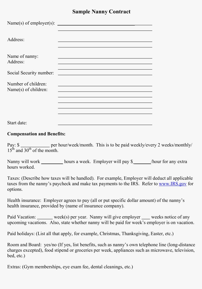 Nanny resume example elegant sample nanny contract template sample.