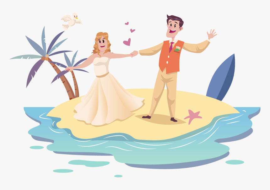 Transparent Cute Couple Png Wedding Couple Cartoon Beach Png