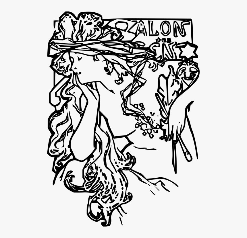 - Alphonse Mucha Coloring Book Pdf, HD Png Download , Transparent Png Image -  PNGitem