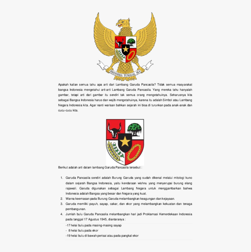 Arti Lambang Garuda Pancasila Hd Png Download Transparent Png