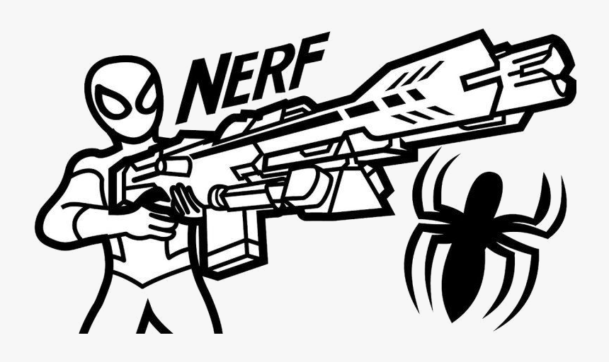 Nerf Gun Old Fashioned Coloring Pages Adornment Trending - Nerf Gun Coloring  Pages, HD Png Download , Transparent Png Image - PNGitem